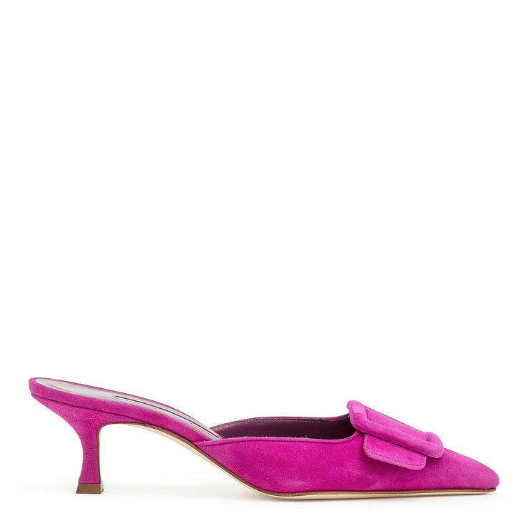 Maysale 50 fuxia suede mules