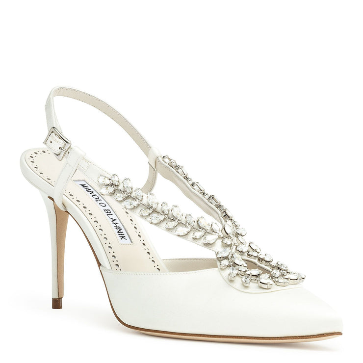 Sibusata 90 white satin crystal embellishment pumps