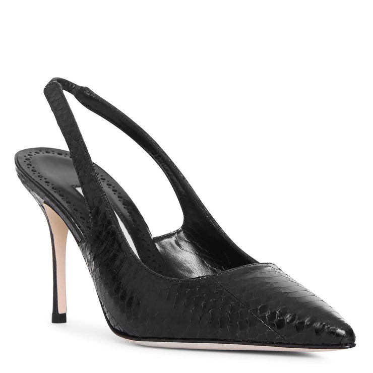 Allura black watersnake slingback pumps