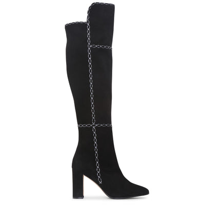 Rubiohi black and grey high boots