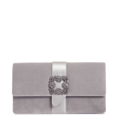 Capri grey velvet clutch