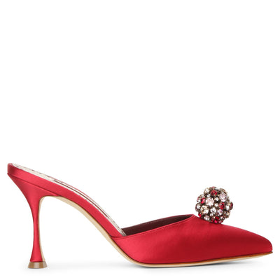 Kavafi 90 red satin mule pumps