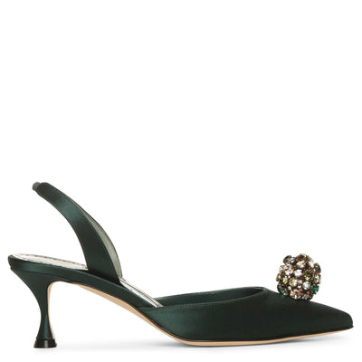 Kavasli 50 green satin slingback pumps