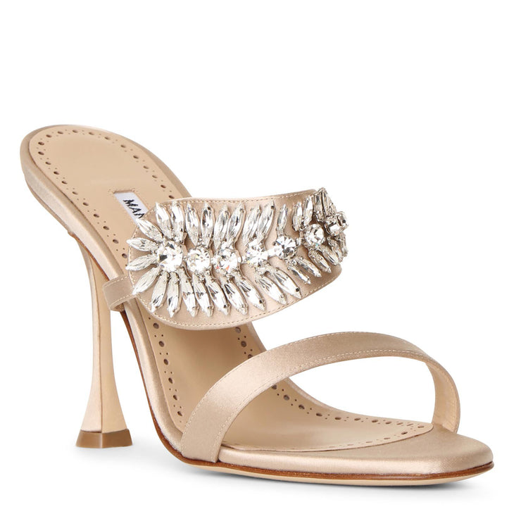 Skysan 105 nude satin sandals