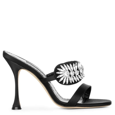 Skysan 105 black satin sandals