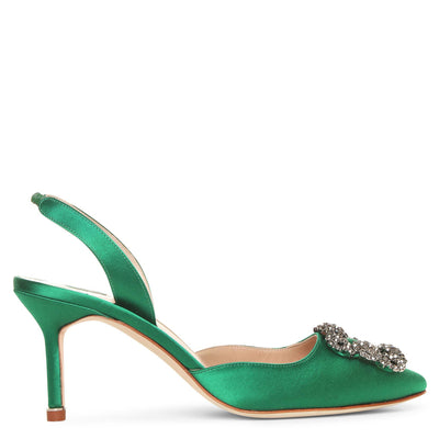Hangisli 70 emerald satin slingback pumps