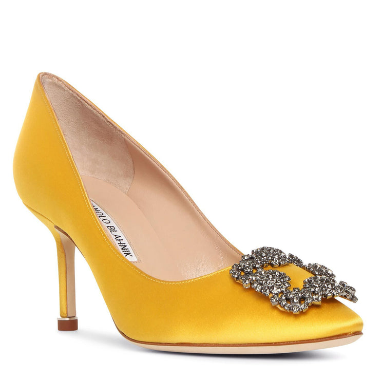 Hangisi 70 yellow satin pumps