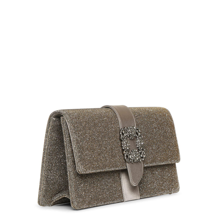 Capri jewel dark gold glitter clutch
