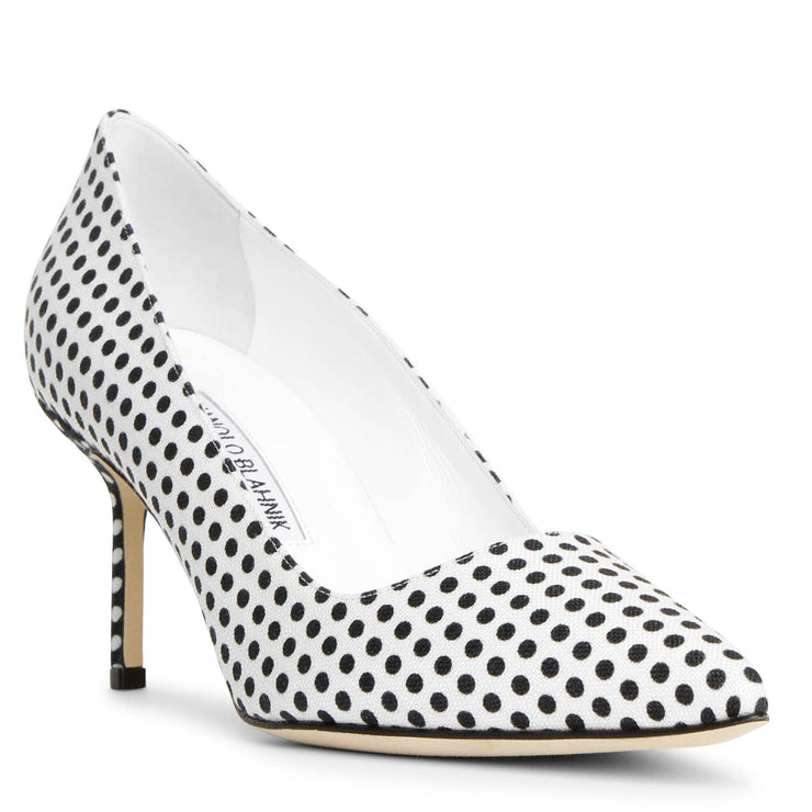 BB 70 linnen polka dot pumps