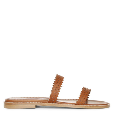 Riesa flat perforated leather slides
