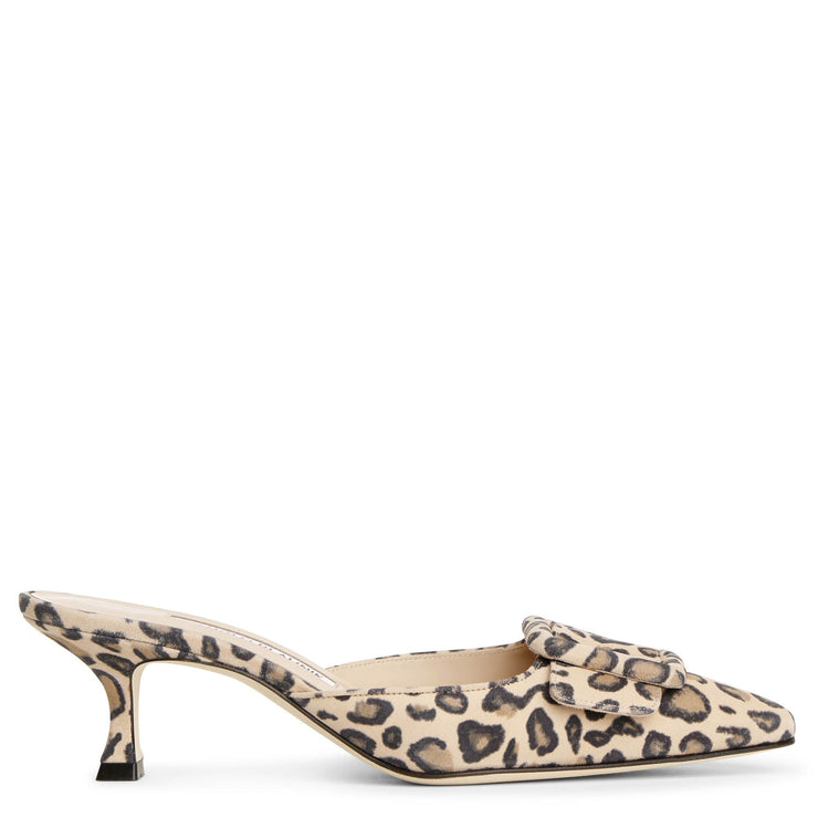 Maysale leopard suede mules