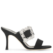 Gable Jewel 90 black crepe mule sandals