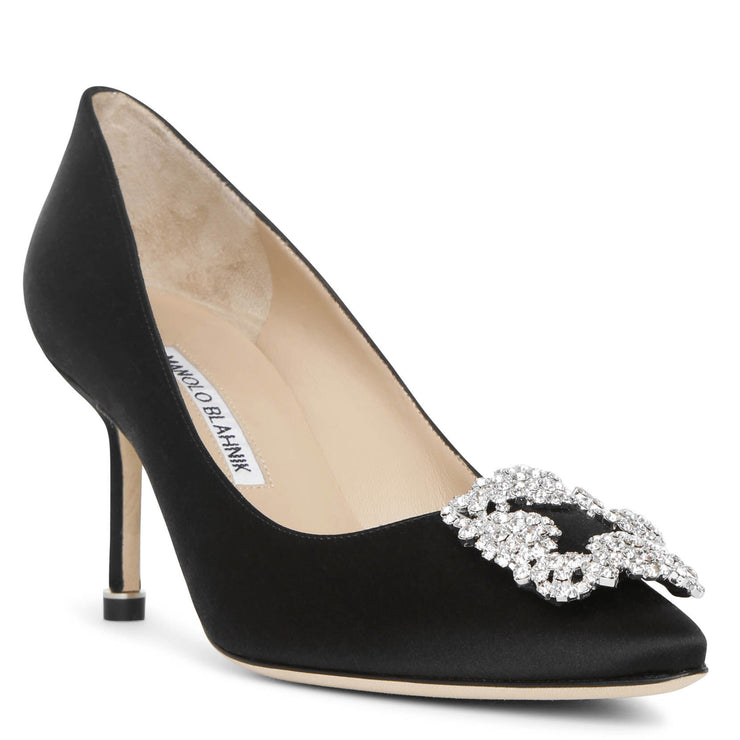 Hangisi 70 black satin pumps