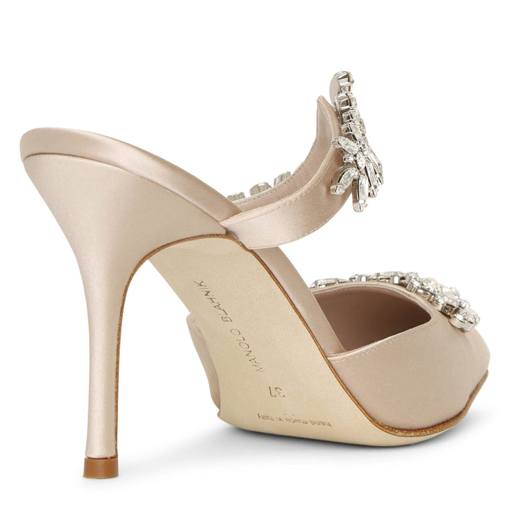 Lurum 90 nude satin mules