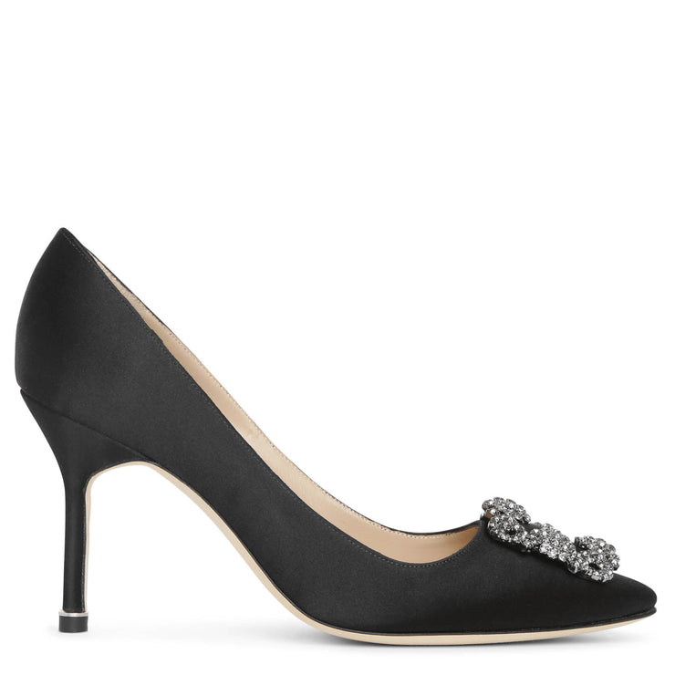 Hangisi 90 black satin pumps