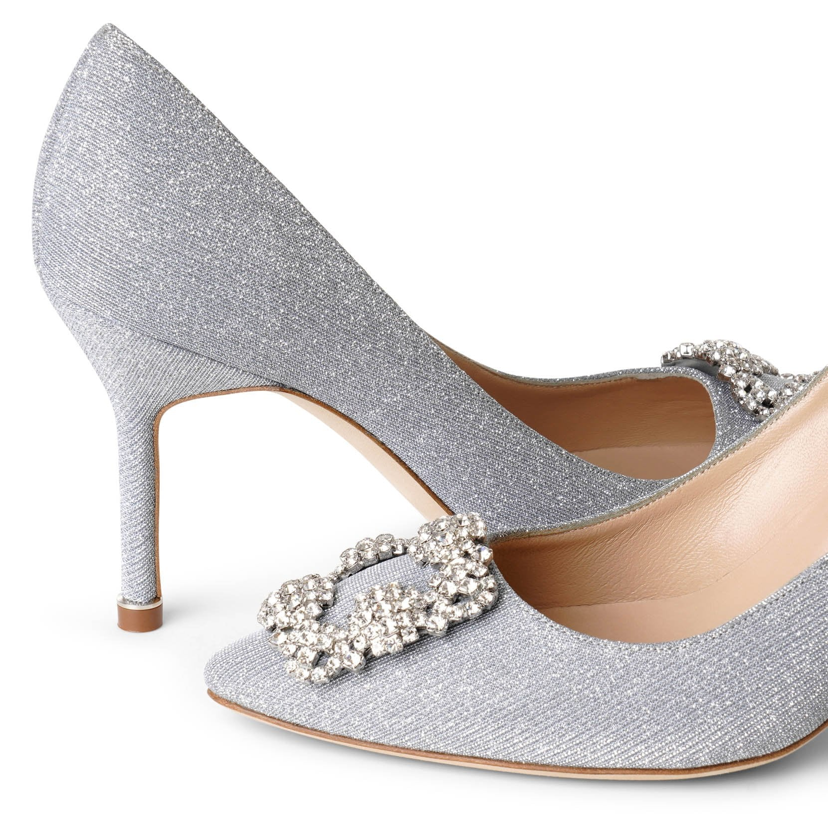 Hangisi 90 silver glitter pumps