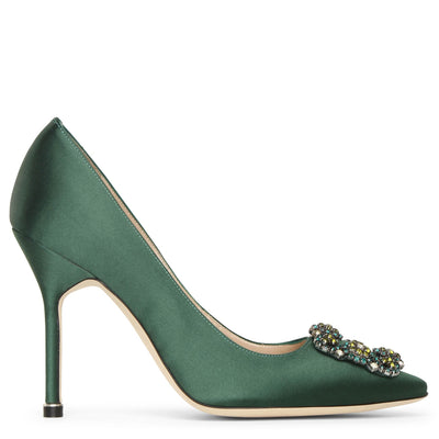Hangisi 105 dark green satin pumps