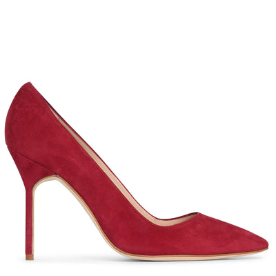 BB 105 deep red suede pumps