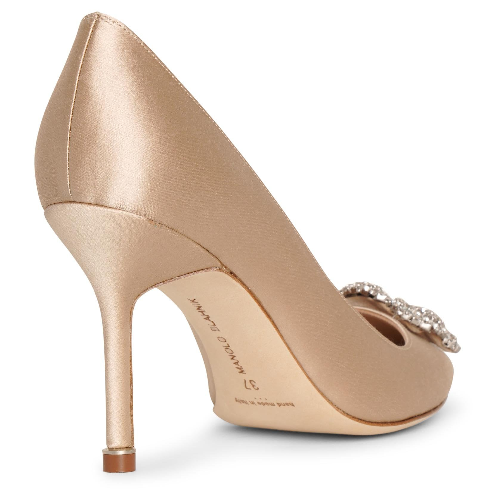 Hangisi 90 champagne satin pumps