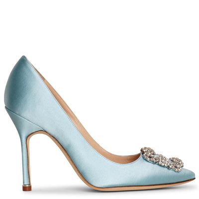 Hangisi 105 light blue satin pumps