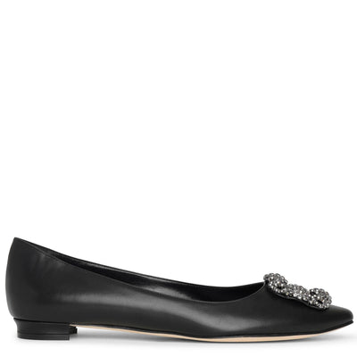 Hangisi flat black leather ballerinas