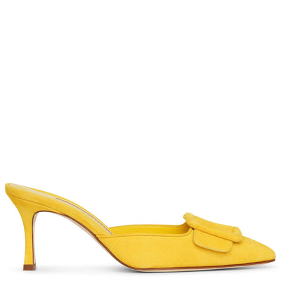 Maysale 70 yellow suede mules