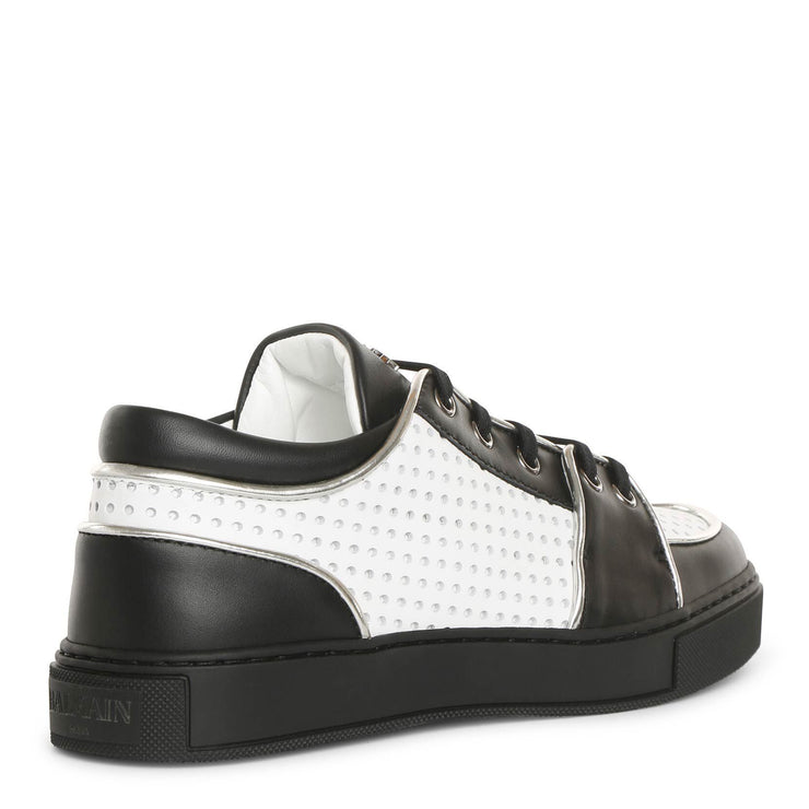 Black and white perforated leather sneakers