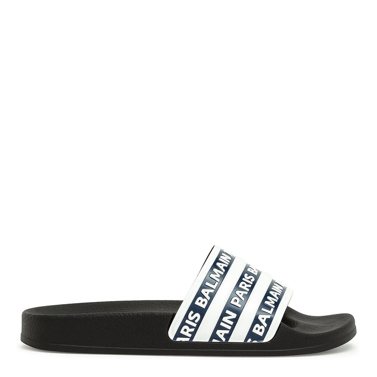 Blue and white logo rubber slide