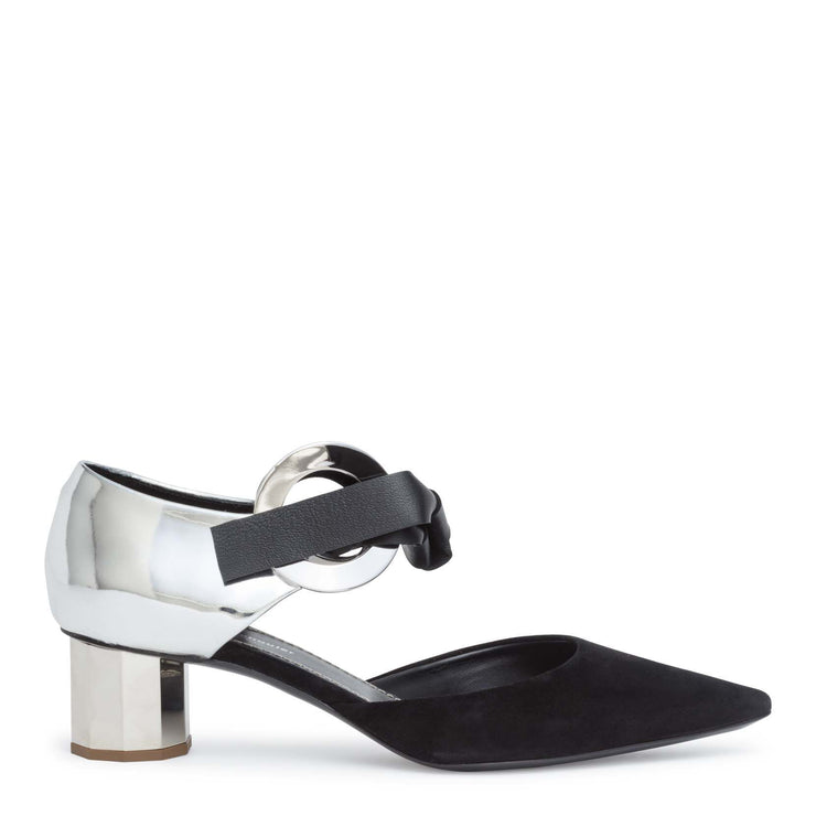 Suede and mirror leather 40 grommet pumps