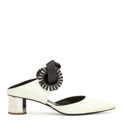 Grommet white leather mules
