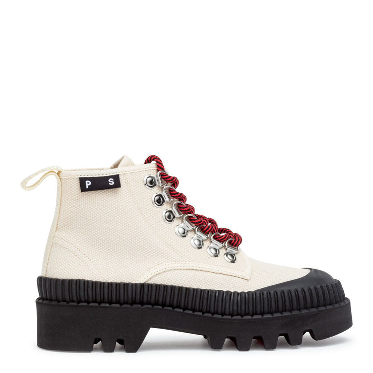 White canvas hiking boots
