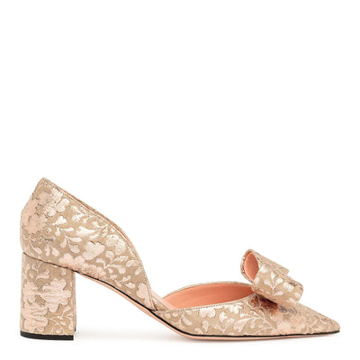 Pointy brocade bow pumps