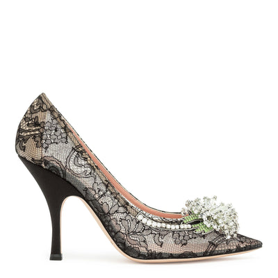 Black lace crystal embellished pumps