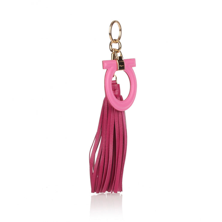 Pink leather Gancio keyring