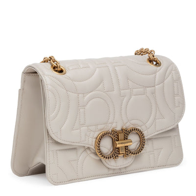 Gancino quilting light beige leather matelasse bag