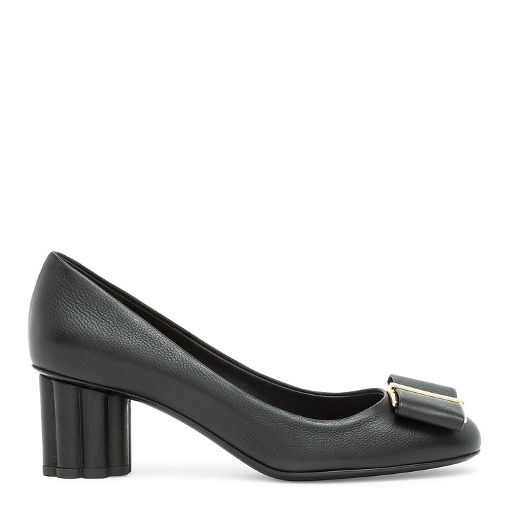 Capua 55 black calf flower heel pumps