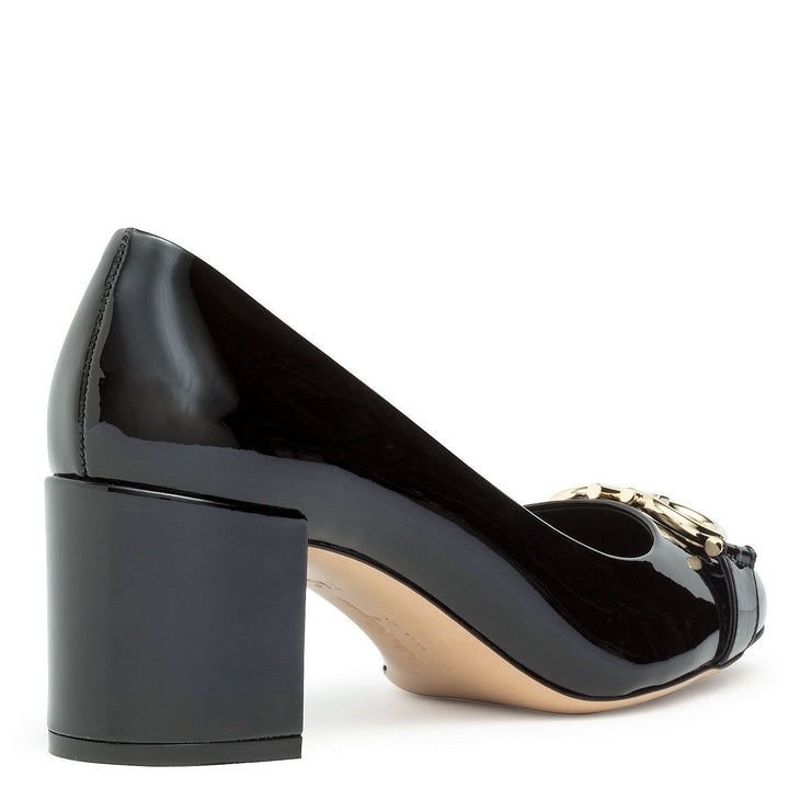 Garda black patent gancini pumps