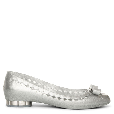Flower heel jelly ballet flats