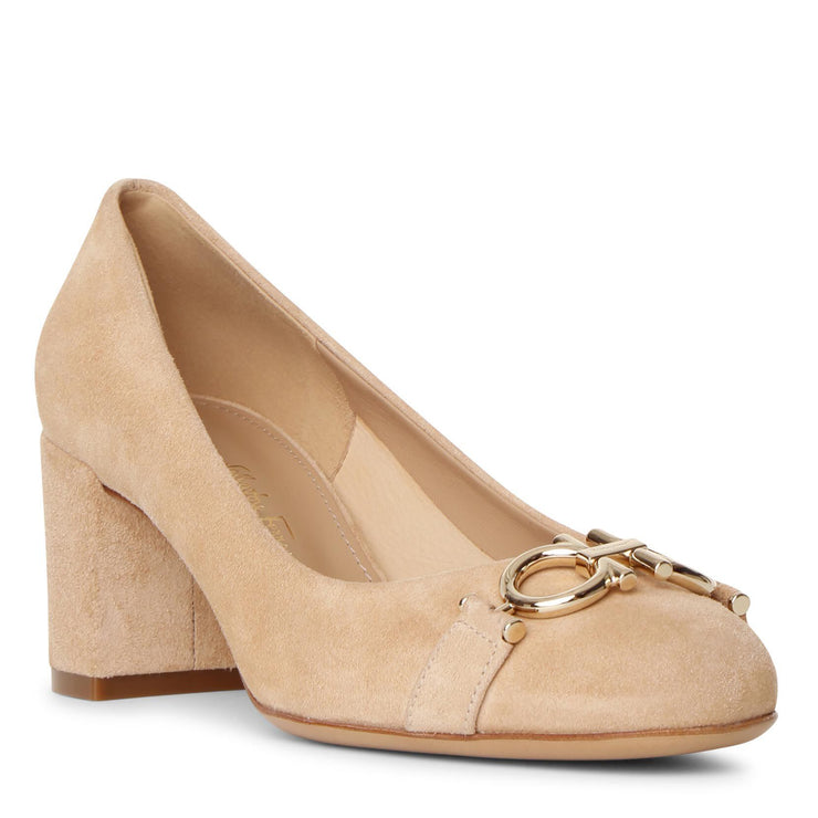 Gancini suede almond pumps
