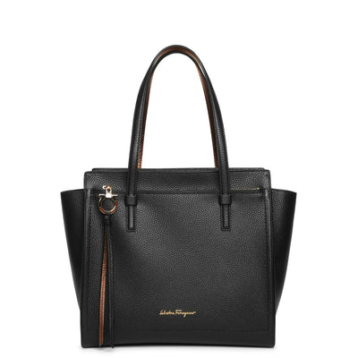 Amy M black leather tote bag