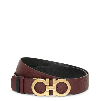 Reversable and adjustable burgundy Gancini belt