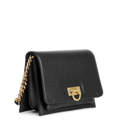 Trifolio crossbody black leather bag