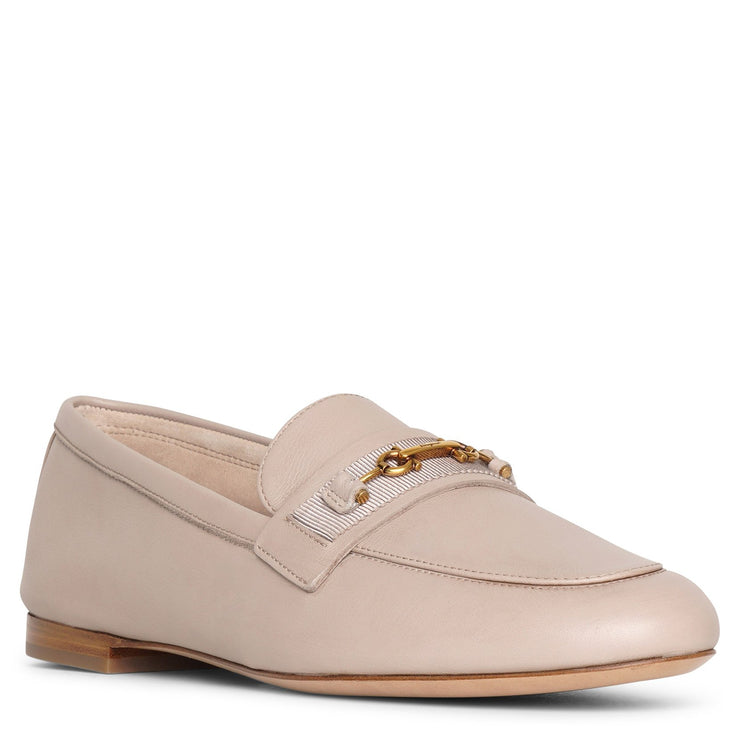 New Gancio light taupe moccasin flats