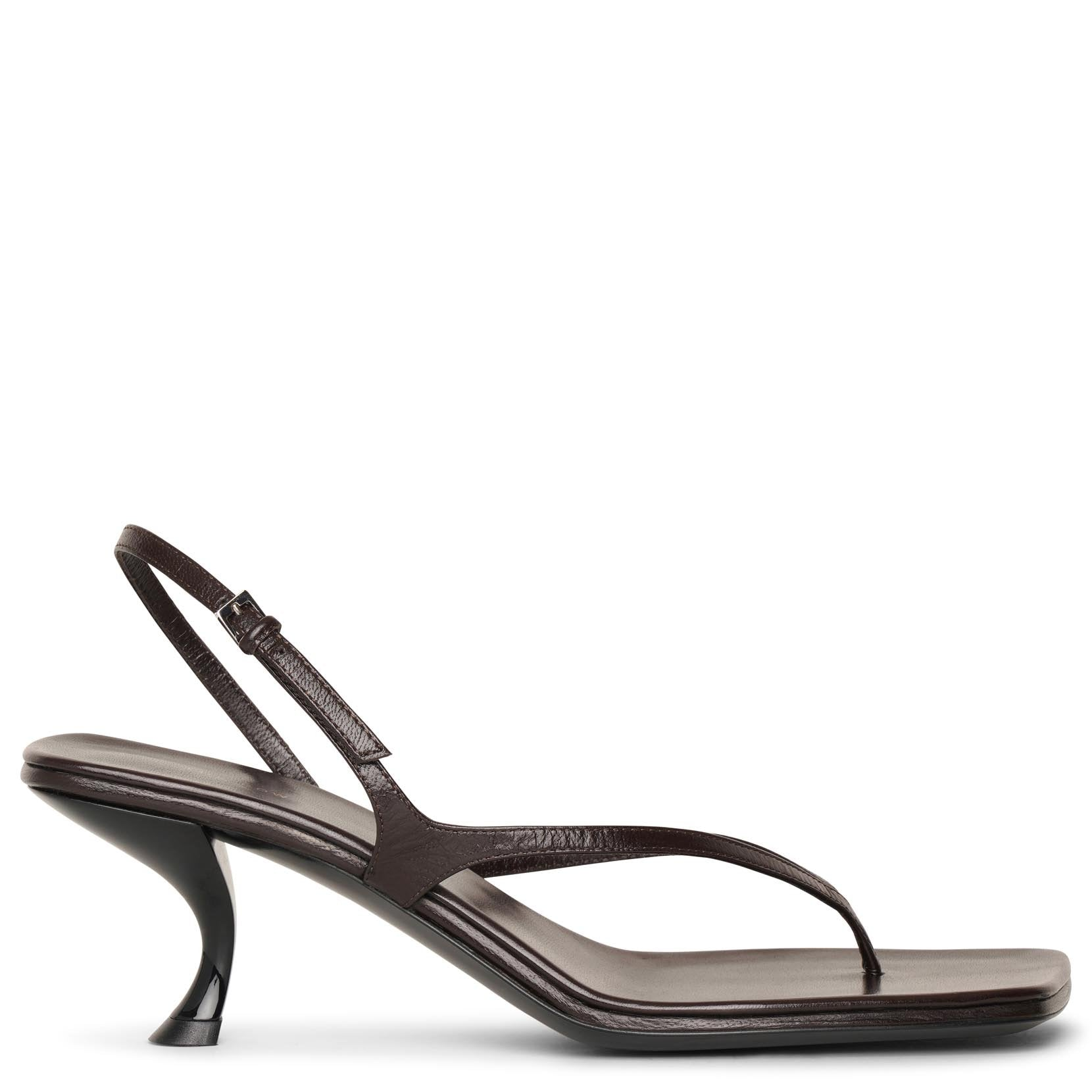 The Row Leathers Constance mocha leather sandals