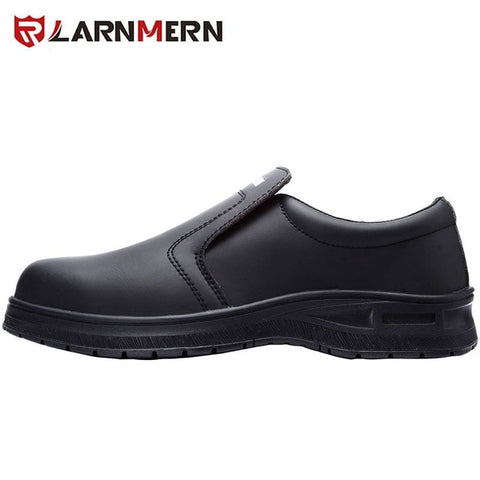 Mens STEEL TOE Non-slip Slip-On Waterproof  Kitchen Safety Shoes (Black)