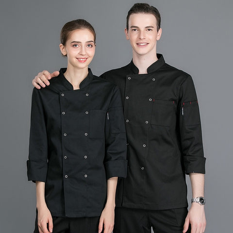 Unisex Long Sleeve Chef Coat (Black or White)