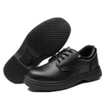 Mens STEEL TOE Non-slip Lace-Up Waterproof  Kitchen Safety Shoes (Black)