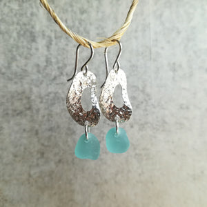 Hammered Hoops + Ocean Blue - Sea Glass Earrings