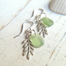 Load image into Gallery viewer, Sterling Leaf + Cucumber - Sea Glass Earrings