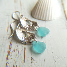 Load image into Gallery viewer, Hammered Hoops + Ocean Blue - Sea Glass Earrings